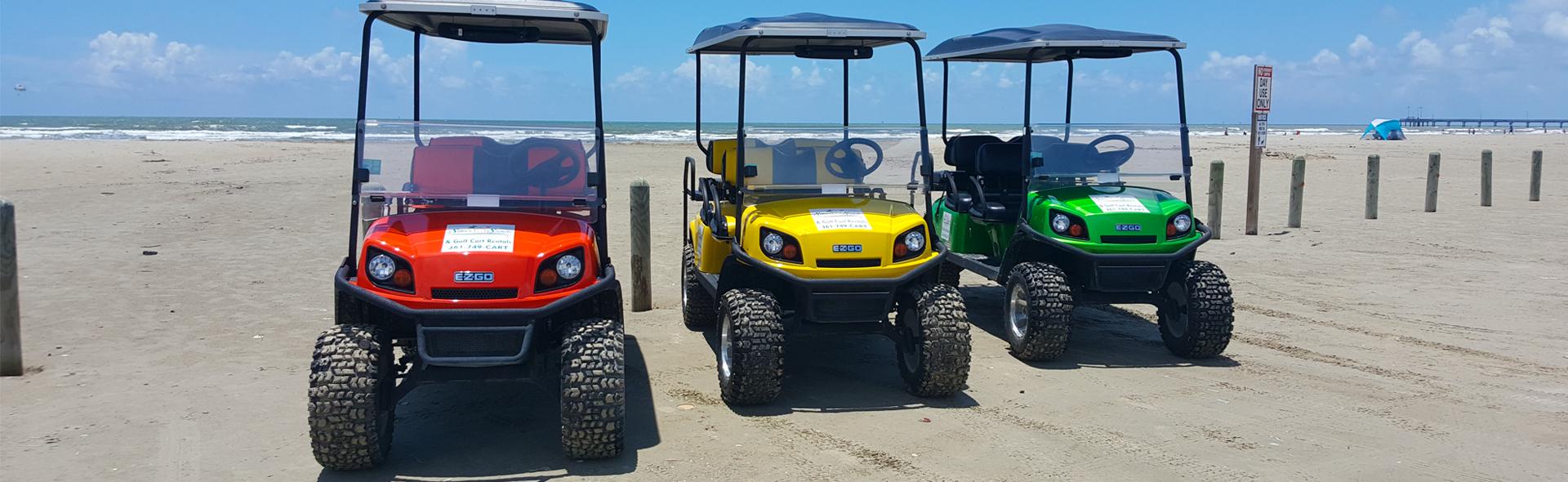 Three Silver Sands Golf Cart Rentals rental golf carts on the Port Aransas beach.