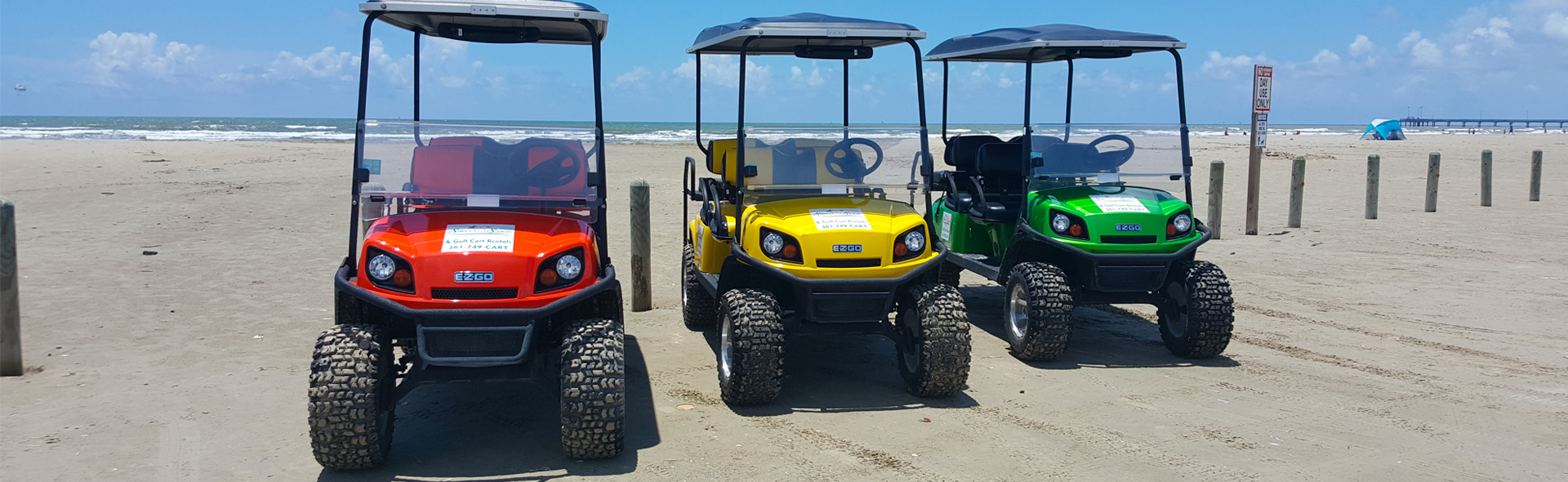 Three Silver Sands Golf Cart Rentals rental golf carts on the Port Aransas beach.