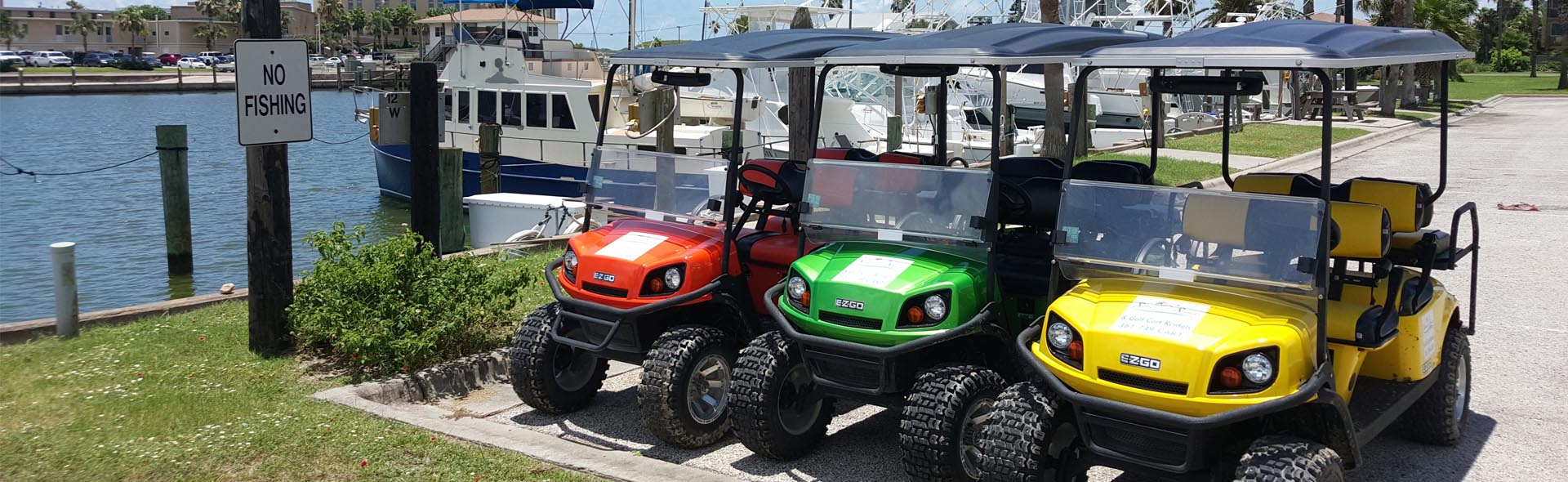 Silver Sands rental golf carts at the Port Aransas marina